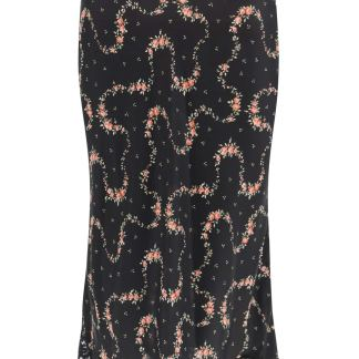 PACO RABANNE FLORAL SKIRT WITH LACE 36 Black, Green, Pink