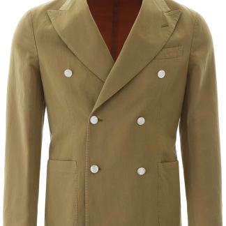 THE GIGI DOUBLE-BREASTED JACKET 46 Green Cotton, Linen