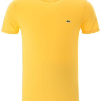 LACOSTE T-SHIRT WITH EMBROIDERED LOGO PATCH 5 Yellow Cotton
