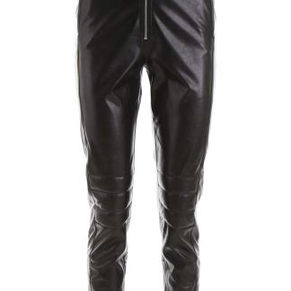 MSGM HIGH BIKER TROUSERS 38 Black Faux leather