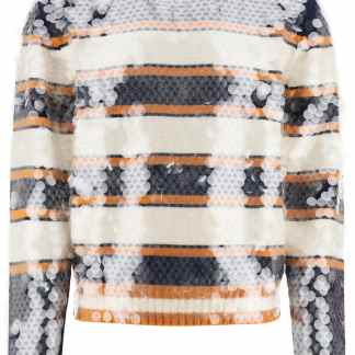 LANVIN STRIPED SWEATER WITH SEQUINS S Orange, White, Blue Wool