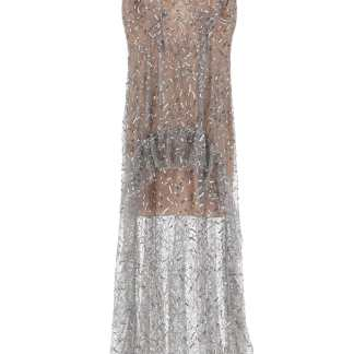 SELF PORTRAIT LONG SEQUINED TULLE DRESS 8 Grey, Silver