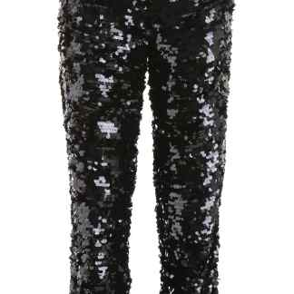 MSGM SEQUINS TROUSERS 38 Black