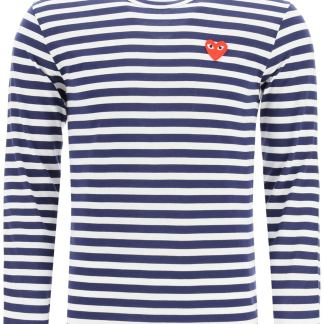 COMME DES GARCONS PLAY STRIPED T-SHIRT WITH HEART L White, Blue Cotton
