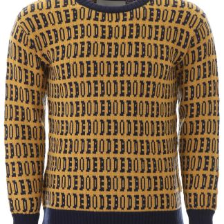 BODE LOGO PULLOVER S/M Blue, Yellow Wool