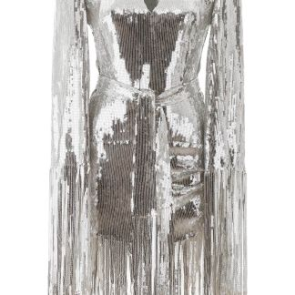 BALMAIN SEQUINED DRESS WITH FRINGES 36 Silver