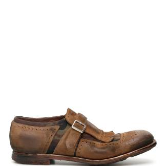 CHURCH'S SHANGHAI MONK STRAP 5 Brown, Khaki Leather, Synthetic
