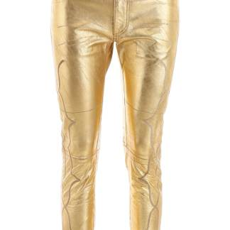 GOLDEN GOOSE LEATHER TROUSERS S Gold Leather