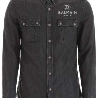 BALMAIN LOGO SHIRT 38 Grey Cotton