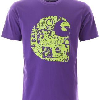 CARHARTT COLLAGE LOGO T-SHIRT S Purple, Green Cotton