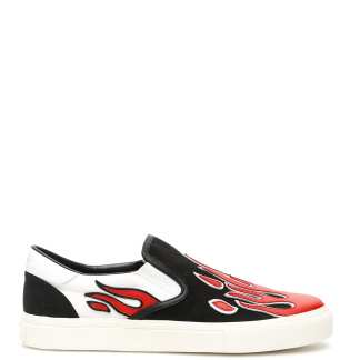 AMIRI FLAME SLIP-ON SNEAKERS 44 Black, Red, White Leather