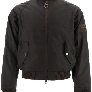 BARBOUR INTERNATIONAL MERCHANT BOMBER JACKET IN COATED COTTON M Brown Cotton