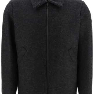 HARRIS WHARF LONDON WOOL BOMBER JACKET 46 Grey Wool
