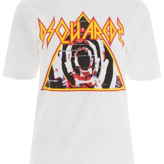 DSQUARED2 LOGO PRINT T-SHIRT XS White Cotton