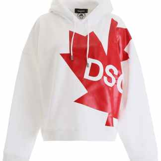 DSQUARED2 LOGO HOODIE XS White, Red Cotton