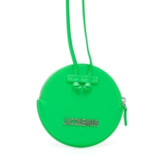 JACQUEMUS LE PITCHOU ROUND PURSE OS Green Leather