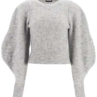 WANDERING SWEATER WITH BALLOON SLEEVES M Grey Wool