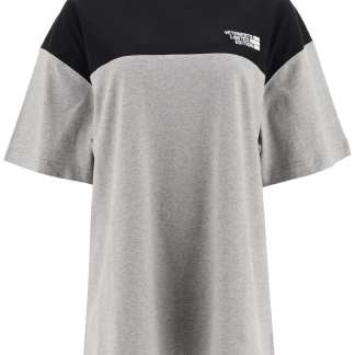 VETEMENTS T-SHIRT WITH LOGO EMBROIDERY M Grey, Black Cotton