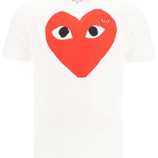 COMME DES GARCONS PLAY T-SHIRT WITH HEART PRINT L White, Red Cotton