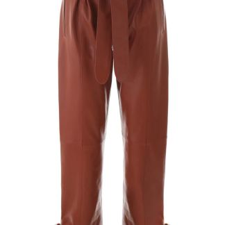 THE ATTICO LEATHER TROUSERS 40 Brown Leather