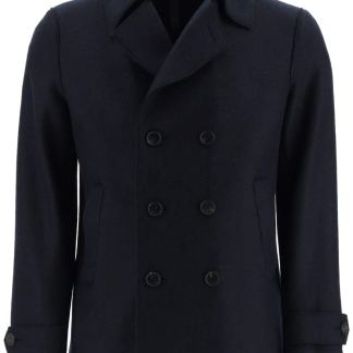 HARRIS WHARF LONDON BOILED WOOL PEA COAT 46 Blue Wool