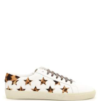 SAINT LAURENT SNEAKERS WITH PONY STARS 41 White Leather