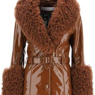 SAKS POTTS SHORTY JACKET IN SHINY LEATHER 1 Brown Leather, Fur