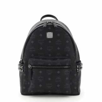 MCM STARK VISETOS BACKPACK WITH SIDE STUDS OS Black, Grey Cotton, Leather