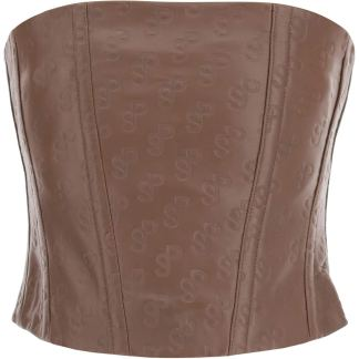 SAKS POTTS TATTOO BUSTIER TOP IN MONOGRAM LEATHER 1 Brown Leather