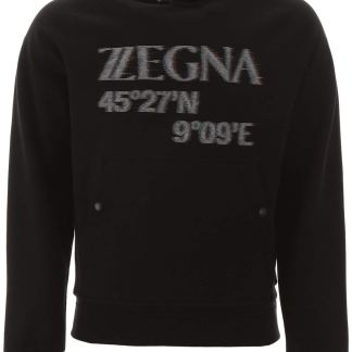 Z ZEGNA HOODED SWEATSHIRT WITH LOGO L Black Cotton