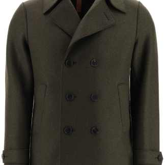 HARRIS WHARF LONDON BOILED WOOL PEA COAT 48 Green Wool
