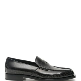 FENDI FF LOGO LOAFERS 5 Black, Grey Leather