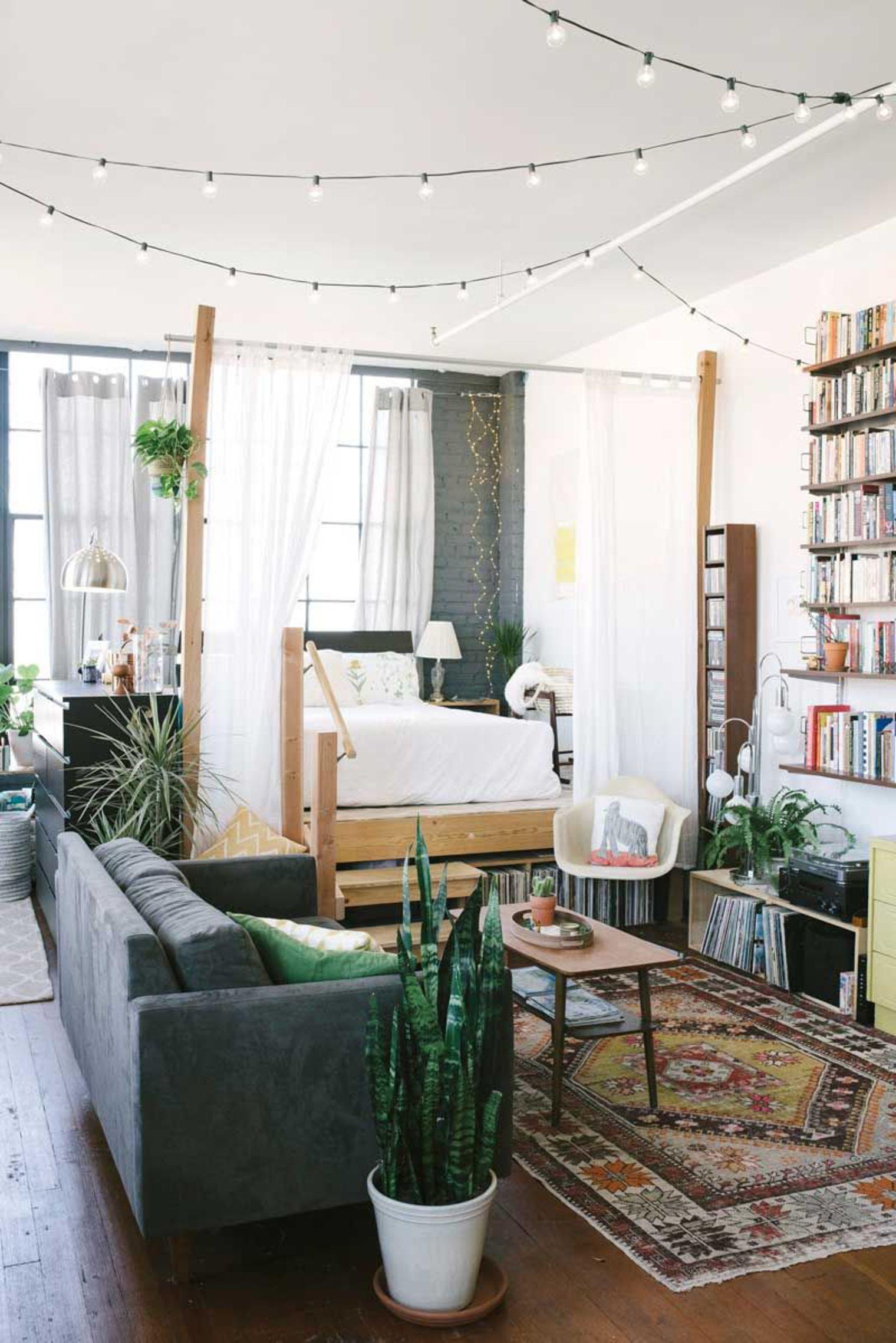 separate bedroom in a studio apartment