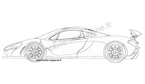Mclaren P1 Drawing Outline Sketch Coloring Page