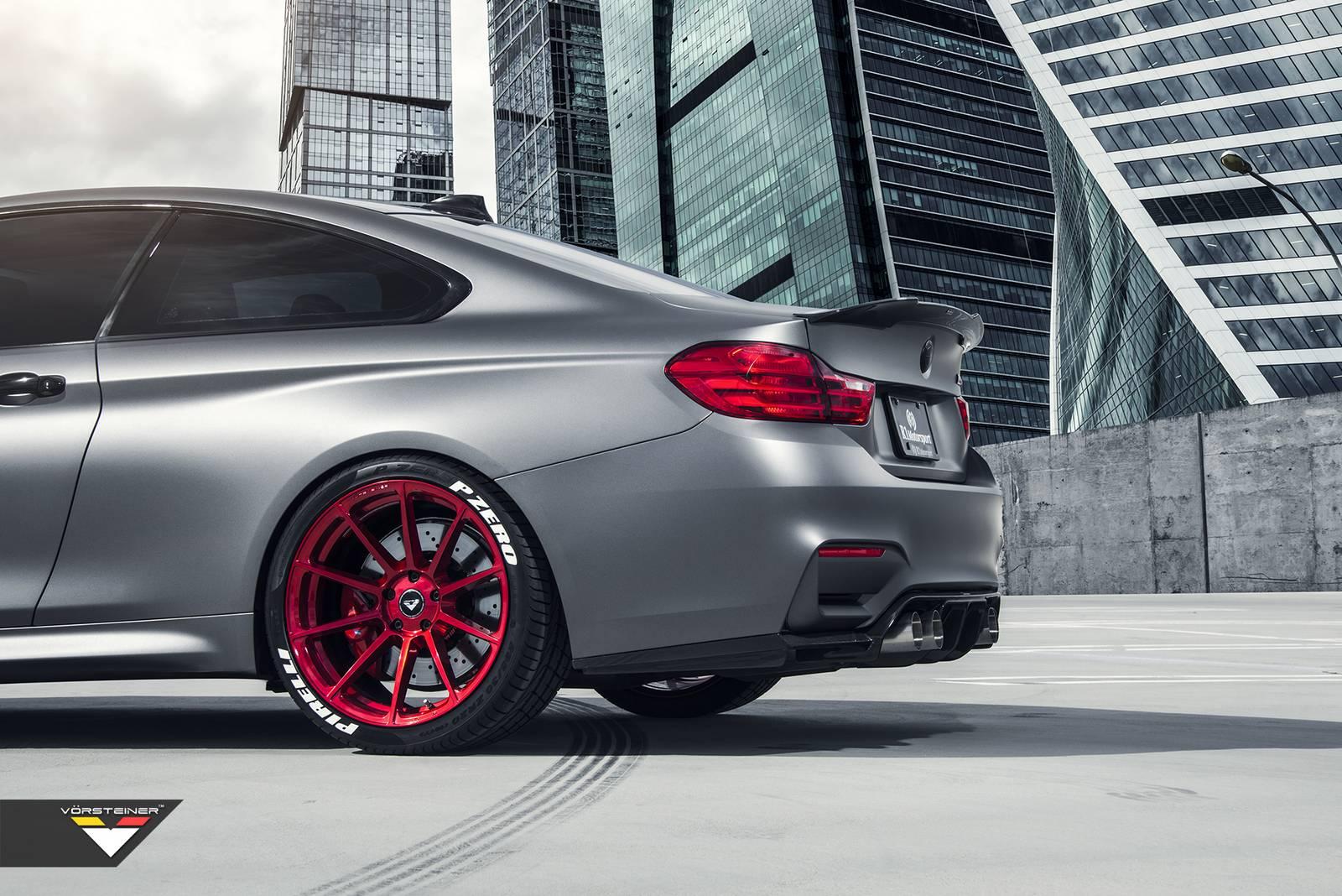 Frozen Gray BMW M4 With Candy Apple Red Vorsteiner Wheels