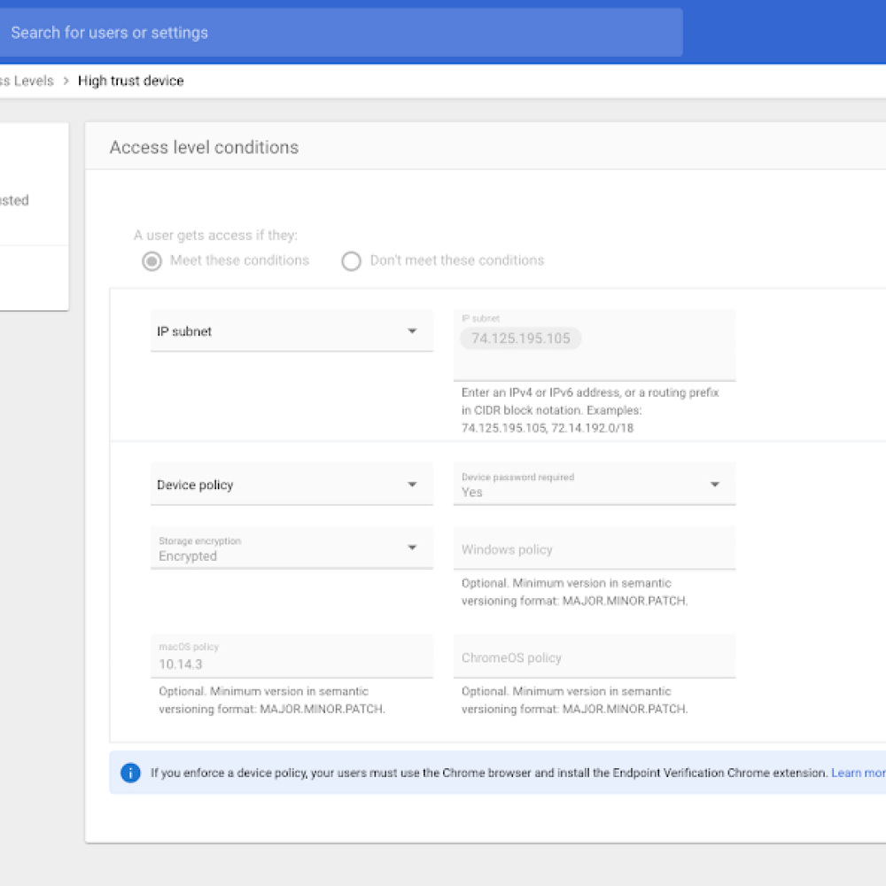 Cloud Identity admin experience to create a context-aware access policy.png