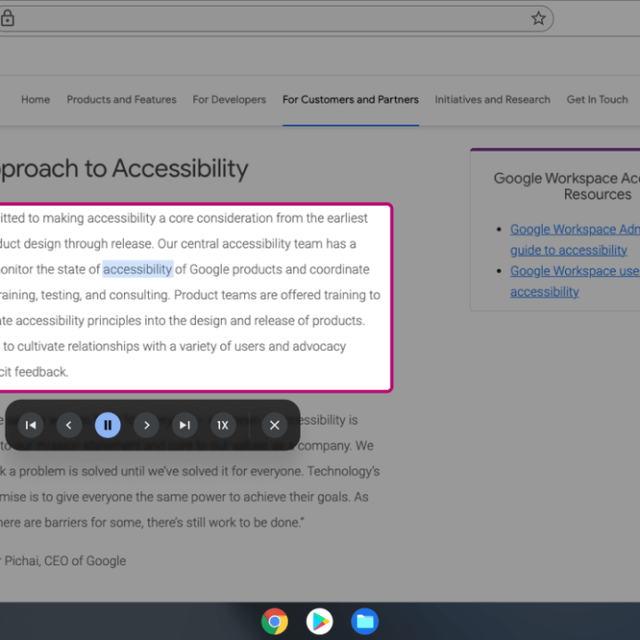 A screen with Select-to speak being used on the Google Accessibility website.