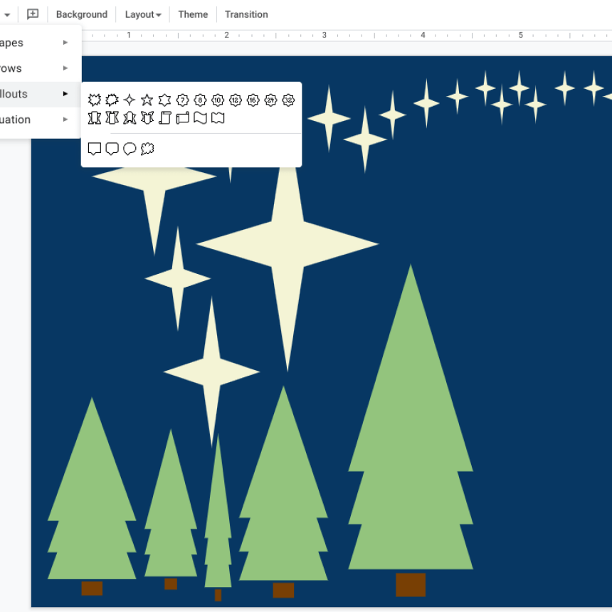 Images showing Google Slides open with a dark blue background and shape created trees and stars on the slide.