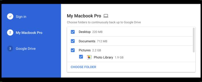 Pilih folder yang anda ingin backup secara automatik