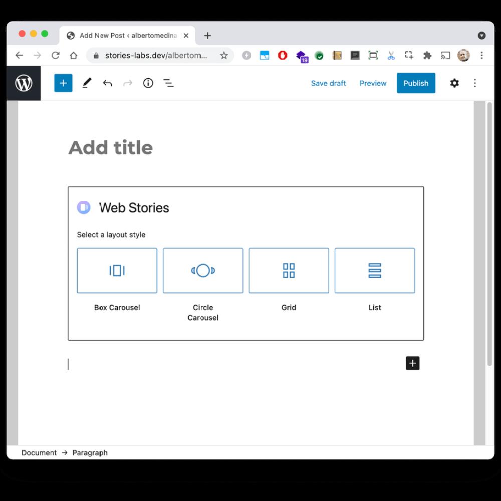 El editor de bloques Web Story en WordPress con selectores para determinar el diseño de las Web Stories seleccionadas, con opciones para Box Carousel, Circle Carousel, Grid o List.