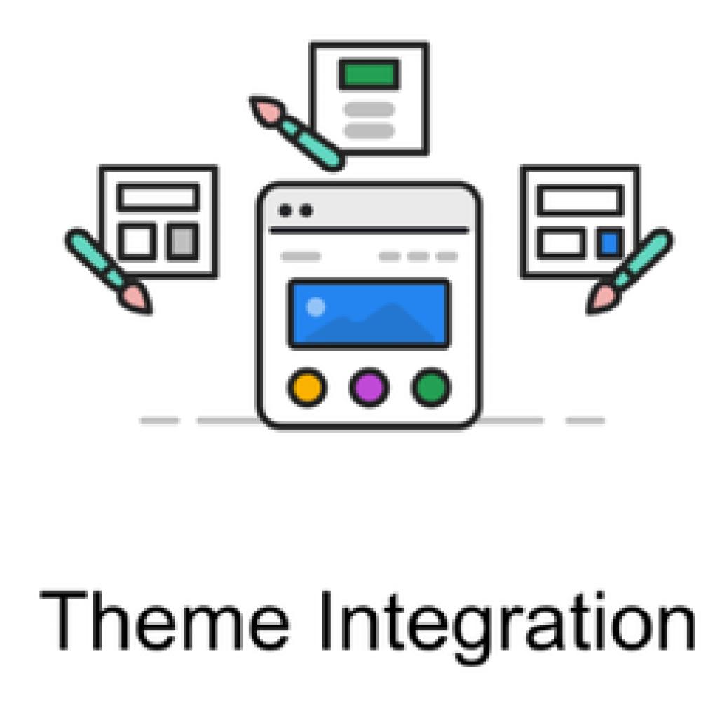 Ilustración visual abstracta de un bloque de Gutenberg con bloques apilados, integración de tema con flechas de pincel y el editor clásico con panel de editor junto al contenido.