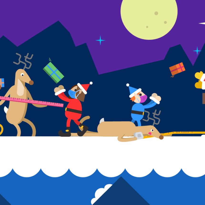 Elves helping Santa drop presents