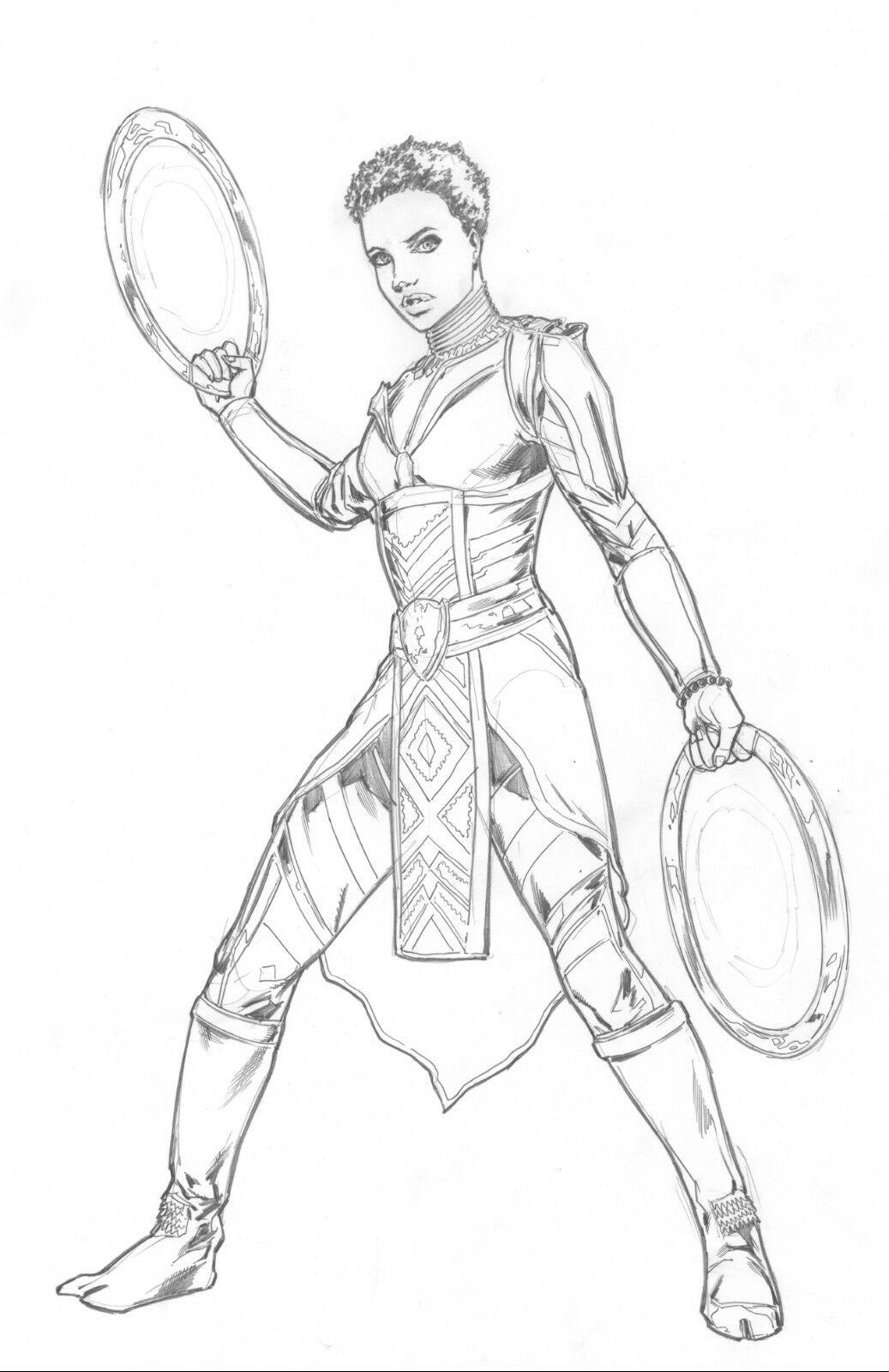 Black Panther Nakia Original Pencil Art Steve Kurth Marvel