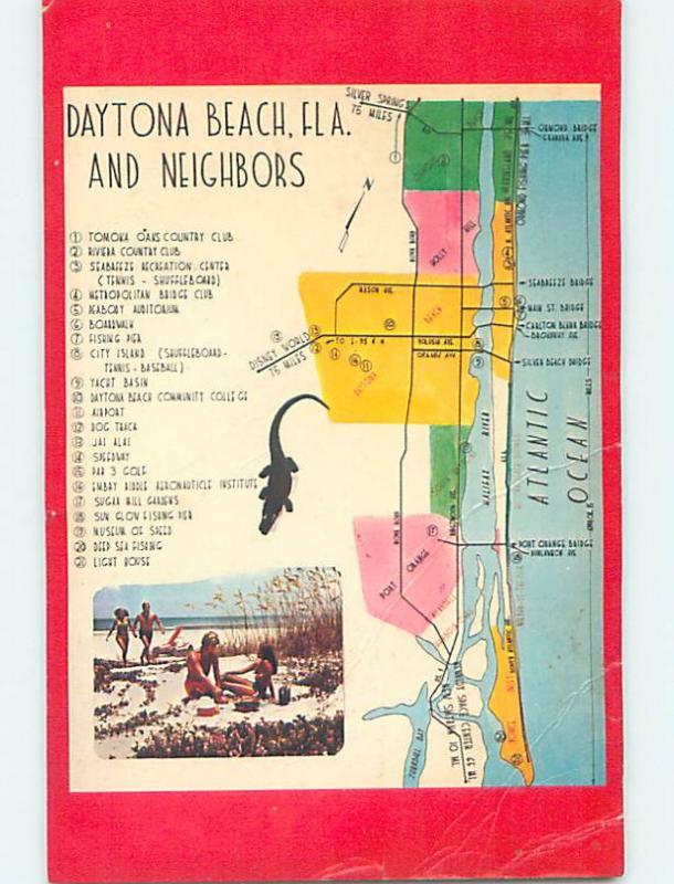 Bent Postcard With Map And Tourist Attractions Daytona Beach Florida Fl M7785 Hippostcard