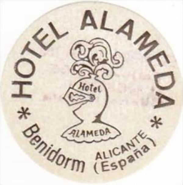 Spain Benidorm Hotel Alameda Vintage Luggage Label Hippostcard