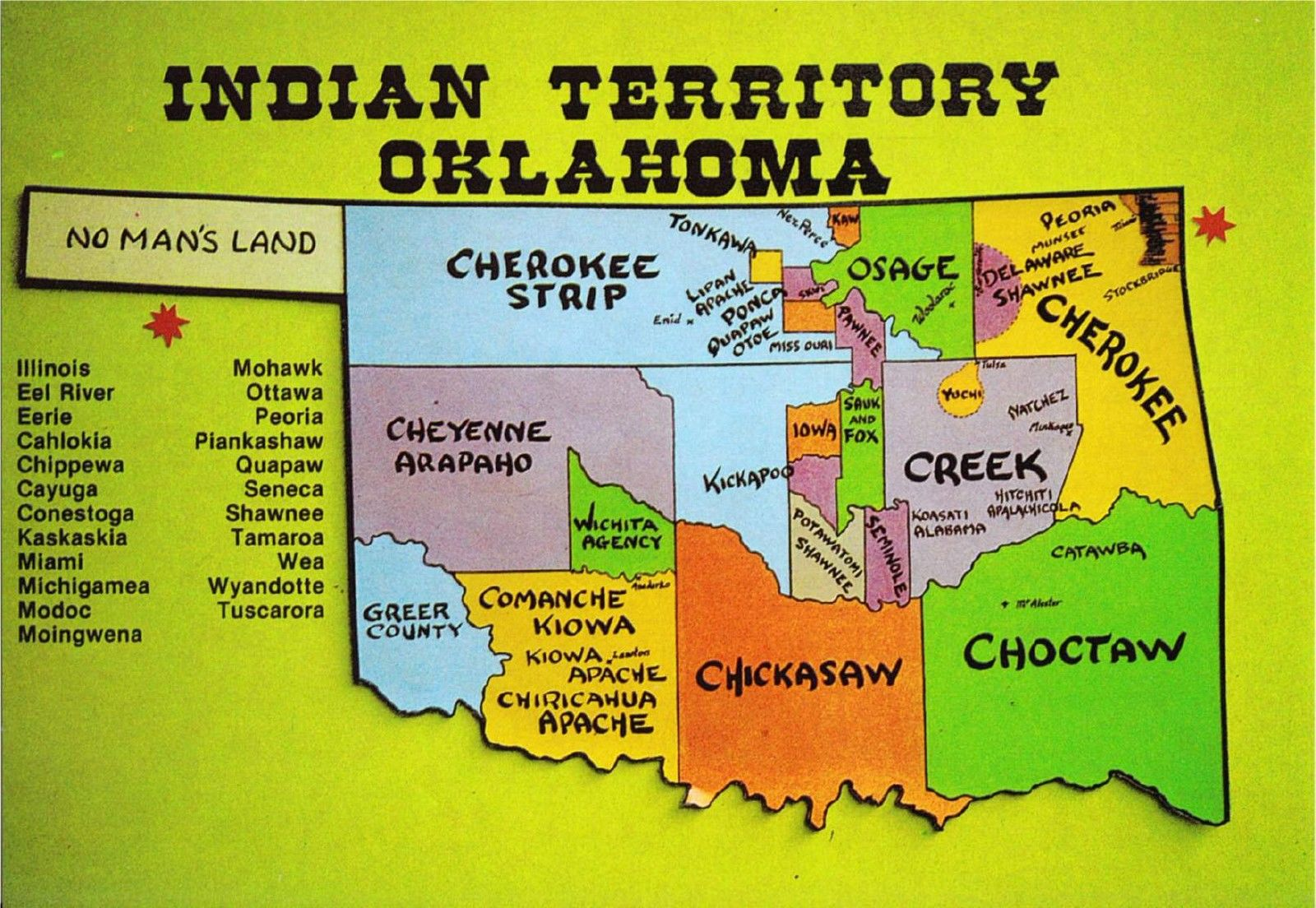 Postcard Of Oklahoma Native American Tribes Map 1