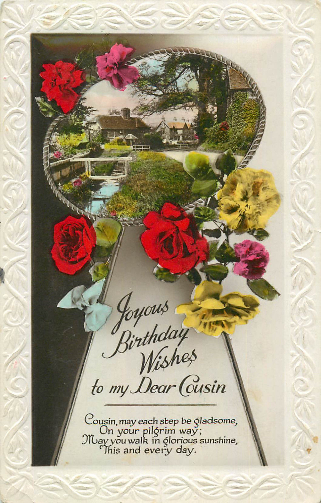 floral embossed frame greetings