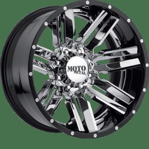 Moto Metal MO202 Chrome Center w/ Gloss Black Milled Lip