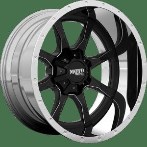 Moto Metal MO201 Gloss Black w/ Milled Center and Chrome Lip