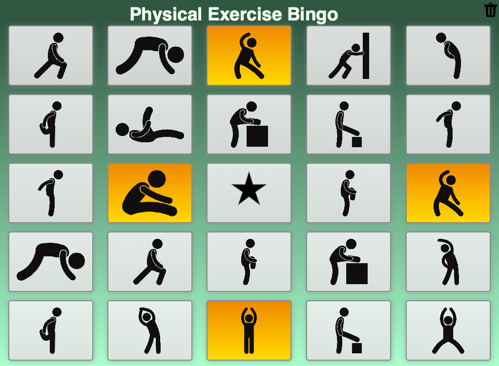 chair gym exercise book bedroom covers fun classroom activity: bingo - bookwidgets